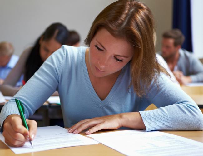 Girl giving exam