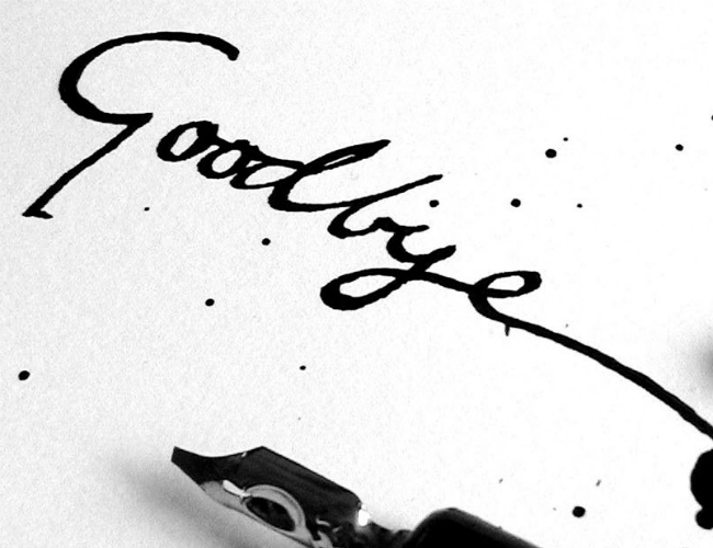 Goodbye written on paper