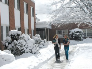 students walking in the university